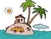 Clipart of palm tree on an island. Where is that car going?