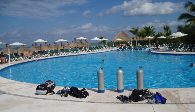 Getting ready to scuba dive at Cozumel, Mexico's all inclusive Occidental resort