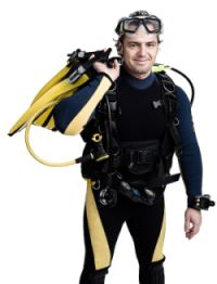 Diver with gear ready to in the water.