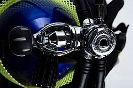 Scuba diving regulator first stage with yoke aerial view