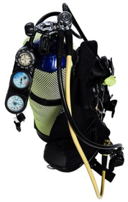 Scuba regulator set up on tank.