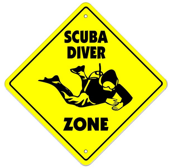 Scuba diving zone sign