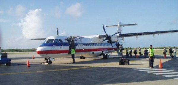 Plane loading to go to the Caribbean
