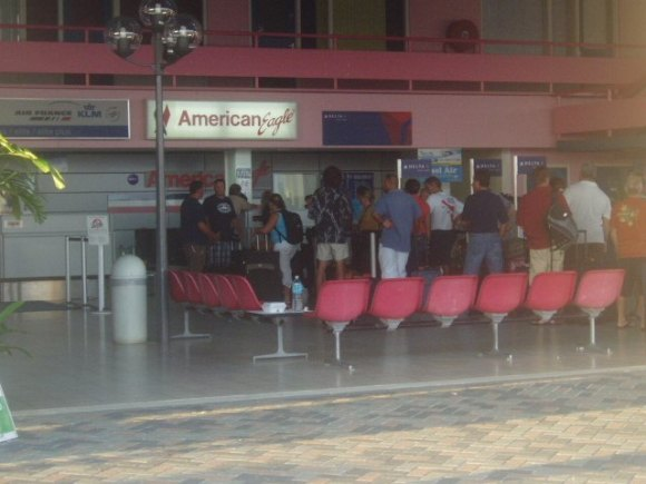 Checking in at the Bonaire airport after our dive vacation.