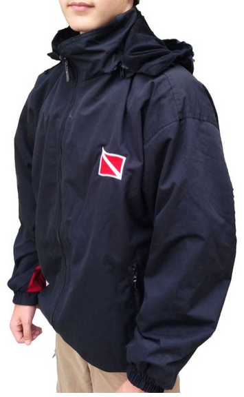 Reversible fleece/water resistant dive flag jacket