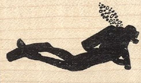 Scuba Diver Rubber Stamp