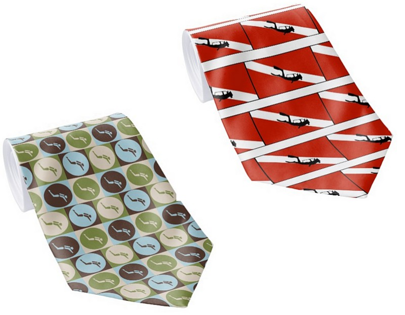 scuba diving themes neck ties