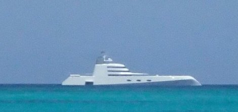 Motoryacht A anchored off of Turks and Caicos