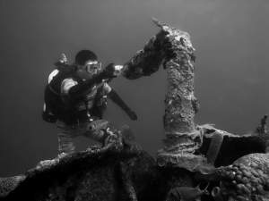 Scuba diving a tug wreck in St. Croix