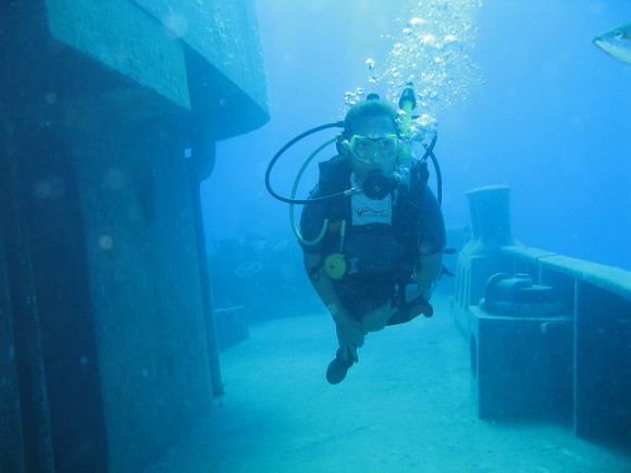 Scuba diving on the USS Kittiwake in Grand Cayman, Cayman Islands