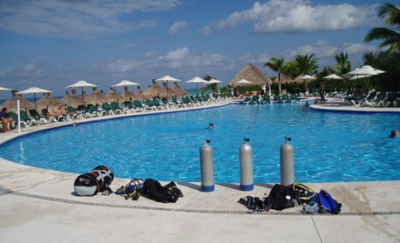 Getting ready to go scuba diving in Cozumel