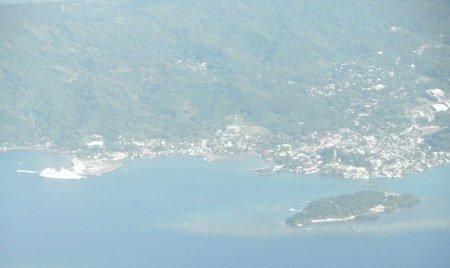 aerial photo of Coxen Hole, Roatan, Honduras