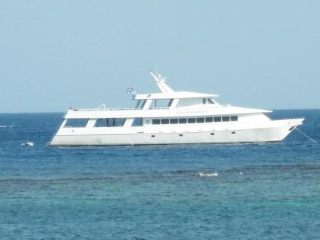 Utila Agressor liveaboard dive boat moored off of roatan