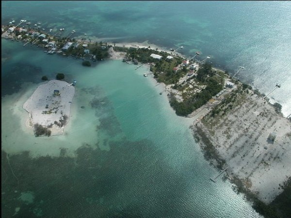 Aerial veiw of Caye Caulker, Belize