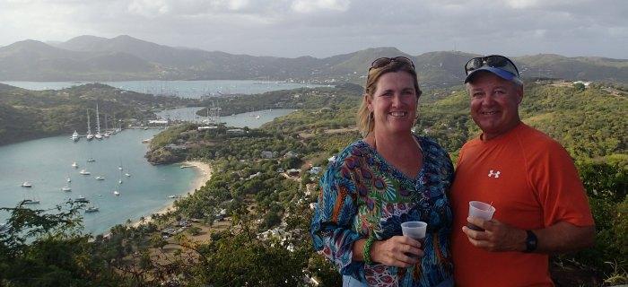 Enjoying Shirley Heights in Antigua