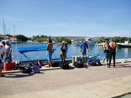Waiting to board the dive boat in Bonaire