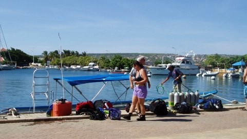 Boat for scuba diving at Klein Bonaire