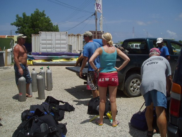 Jeeps to do some Bonaire shore diving