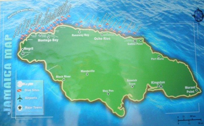 Map of dive sites in Jamaica