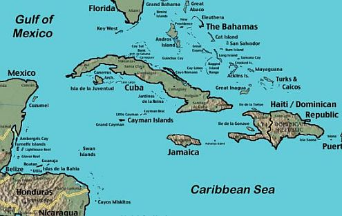 cayman-islands-map showing location in Caribbean