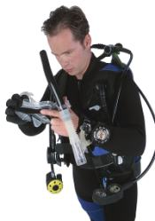 Scuba diver getting ready to go in