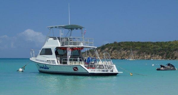 Sandals dive boat in Antigua