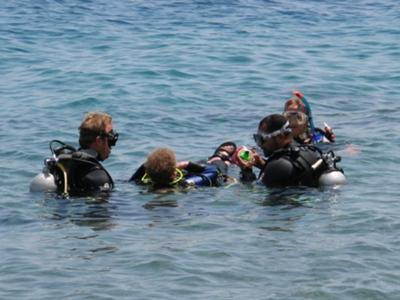 The end of a one and a half hour drift dive from Rick's Reef to The Canyon at Dahab