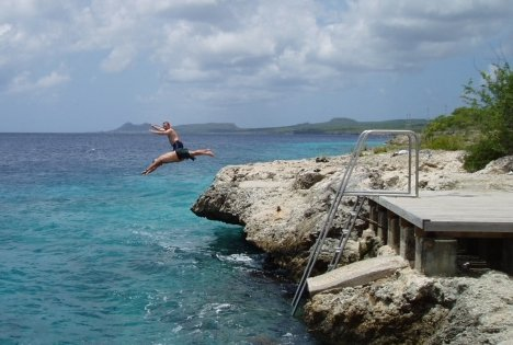 More fun after scuba diving in Bonaire.