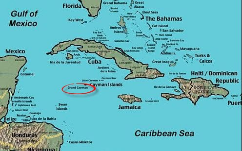 Map showing Grand Cayman's location in the Caribbean.
