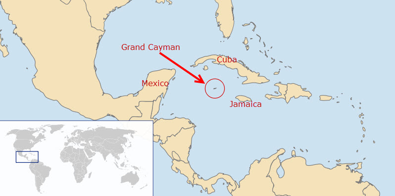 Map showing Grand Cayman's location in the world.