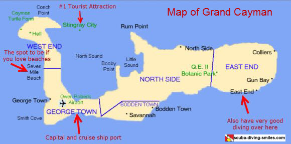 Map of Grand Cayman, Cayman Islands with attractions
