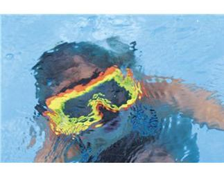 Kid's snorkeling gear - a colorful mask.