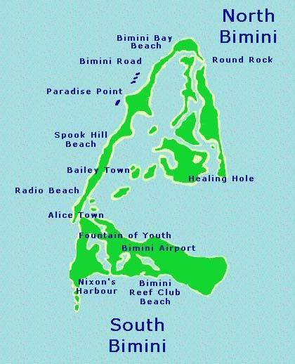 Map of Bimini Island in the Bahamas