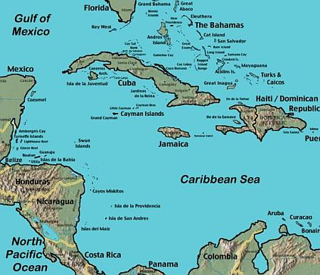 Map of Bimini, Bahamas in the Caribbean