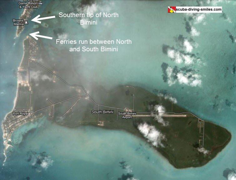 Aerial view map of Bimini Bahamas