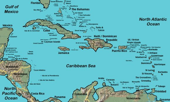 Detailed map of the Caribbean.