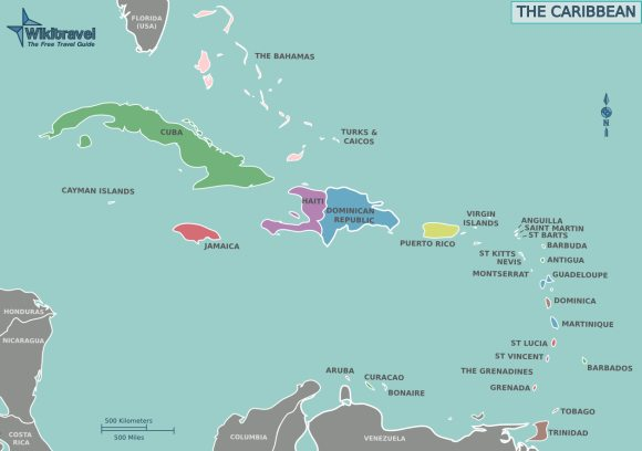 Caribbean Island map from Florida to Venezuela.