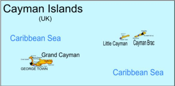 Map showing Grand Caymans location within the Cayman Islands
