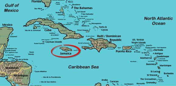 Map of Jamaica, West Indies; Plus World Maps of Jamaica And Parishes