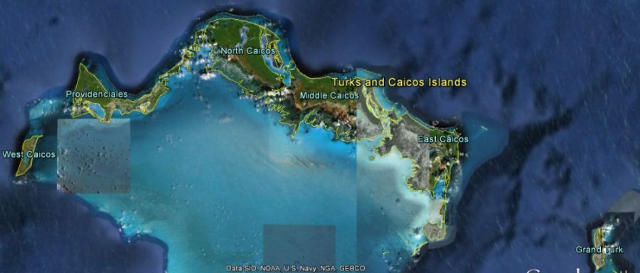 Aerial view map of Turks and Caicos