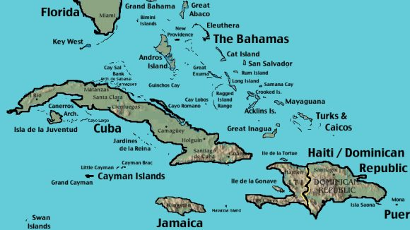 Map of the Western Caribbean including the Bahamas.