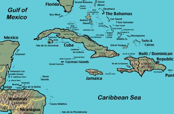 Map of the Western Caribbean Islands.