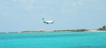 Plane landing in Montego Bay, Jamaica