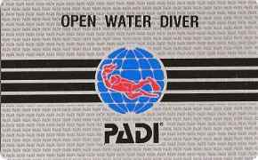 Scuba diving certification card from PADI
