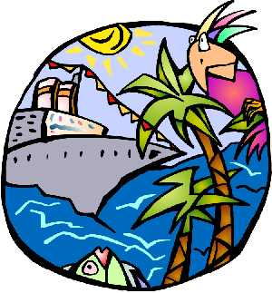 Palm tree clipart - boat, bird and fish in this piec