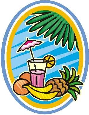 Palm tree clipart - drink with coconuts and banan