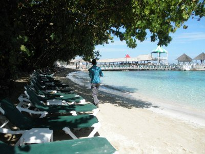 Shady beach area at Sandals Grande Riviera