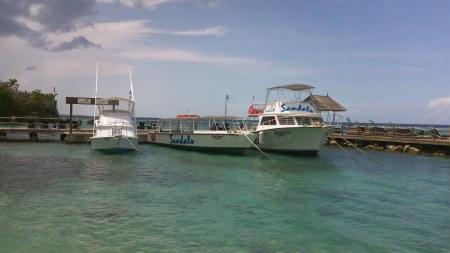 Dive boats at Sandals Grande Riviera in Ocho Rios, Jamaica