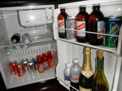 fridge at our concierge level room at Sandals Grande Riviera, Jamaica