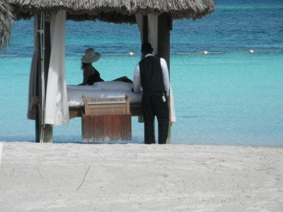 Rented beach palapa with butler at Sandals Montego Bay, Jamaica